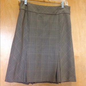 ANN TAYLOR Plaid Skirt, Brown/Red, Size 2